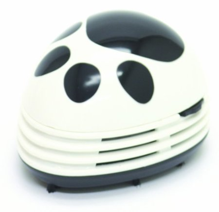 Starfrit Gourmet Mini Table Vaccum Cleaner, Black Paw Prints Design, White