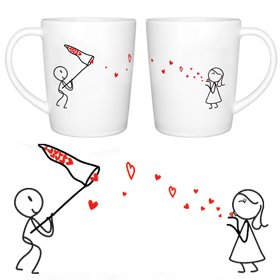 BoldLoft Catch My Love Couple Coffee Mug Set-Cute Mug Gift ideas