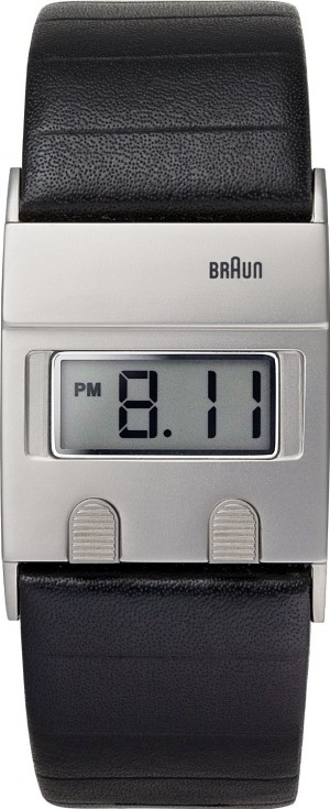 Braun BN-76-BKG Silver Digital Black Leather Strap Watch