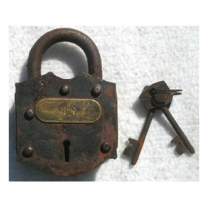 Cast Iron US Union Army Civil War Padlock Lock