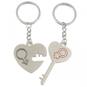 2 Pcs Heart Lock Key Lovers Silver Tone Alloy Keychain