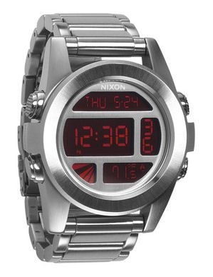 Nixon Unit SS Watch Silver/Red, One Size