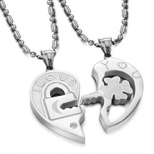 Love You Lock and Key Pendant Necklaces