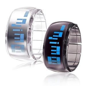 LITB Couple's Futuristic Blue LED Digital Wrist Watches