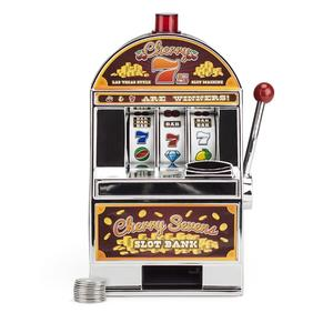 Slot Machine Bank with Spinning Reels