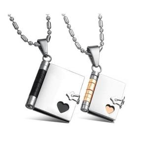 Stainless Steel Couples Love Story Book Pendants His & Her Necklace Set