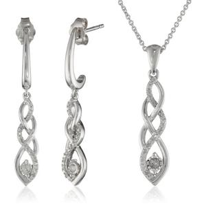 Sterling Silver Diamond Twist Earrings and Pendant Necklace Box Set