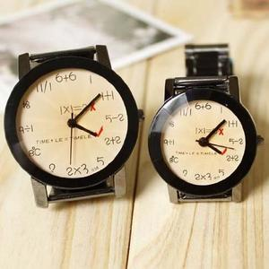 Unique Vintage Design Numerals Equations Round Dial Couple Watch