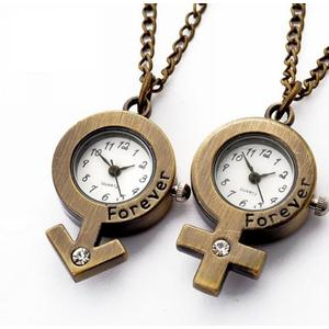 Vintage Couple Quartz Pocket Watch Necklace Watch
