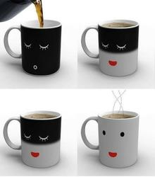 Coffee mugs with temperature controlled expression makes great birthday gift ideas