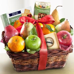 Fruit Cheese and Nuts Food Basket for housewarming gifts