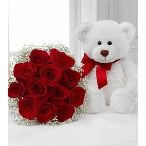 Red Rose Bouquet with Lovable Bear